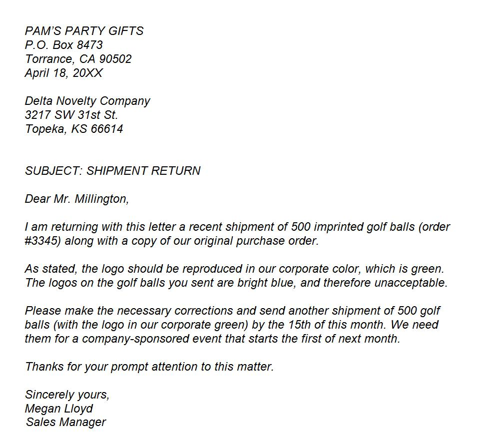Example business letter of complaint altavistaventures Gallery